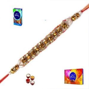 Stunning Golden Beads And Silver Stone Rakhi (product Code - Mo12002)