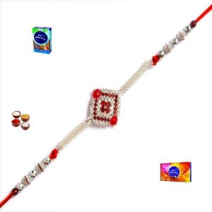 Silver Rakhi-excellent Stone Studded Silver Rakhi (product Code - Mo12003)