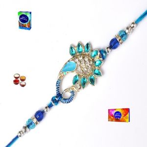 Exclusive Peacock Style Blue Pearl & Stone Rakhi Set (product Code - Mo14006)