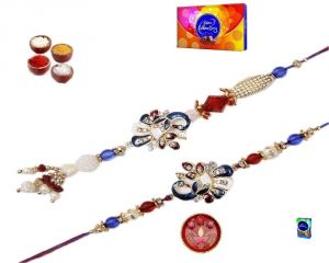 Rakhi Gifts To India - Stylish Peacock Bhaiya Bhabhi Rakhi Set - ( Product Code - Mo36001 )
