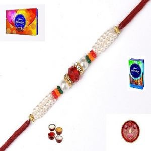 Rakhi Gifts To India - Elegant Stone And Pearl Rakhi - ( Product Code - Mo4407 )