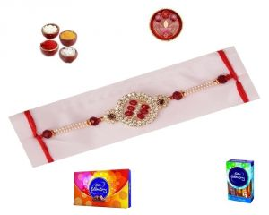 Elegant Red Pearl And Stone Stylish Rakhi With Chocolates - ( Product Code - Sa1015 )