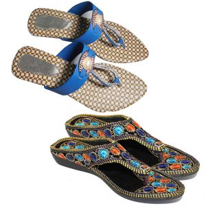 Great Art Women New Design Party Wear Rajasthani Flat Chappal Slipper Combo Dli6wmc160