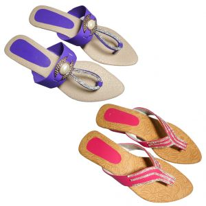 Great Art Women Fashionabal Party Wear Fancy Slipper Sandals Combo Dli6wmc168