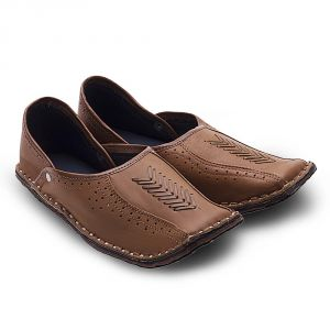 Handmade Shoes (Men's) - Men Rajasthani Ethnic Juti Tan Leather Mojari Shoe 201