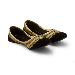 Women Golden Zari Black Velvet Ballerina Sandals 315
