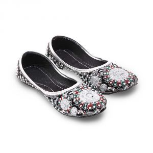 Women Silver Sequin Beaded Black Ballerina Sandals 316