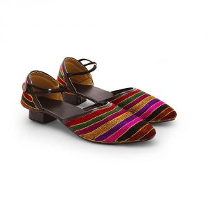 Women Multi-color Zari Resham Work Heeled Sandals 318