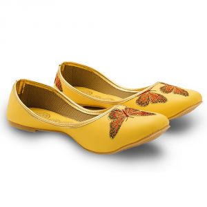 Women Butterfly Designer Yellow Ballerina Sandals 350