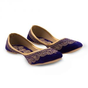 Women Royal Blue Velvet Stylish Ballerina Sandals 353