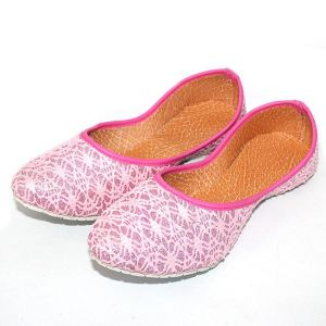 Great Art Rajasthani Girls Women Pink Spider Design Round Jaipuri Jutti Ballerinas 501