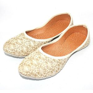 Great Art Rajasthani Girls Women Beige Spider Design Round Jaipuri Jutti Ballerinas 506