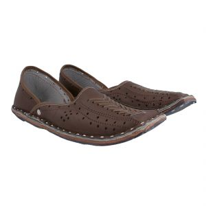 Handmade Shoes (Men's) - Men Rajasthani Ethnic Juti Brown Leather Mojari Shoe 201R