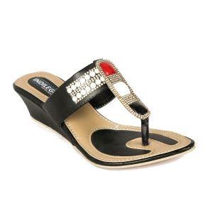 Wedges - Indilego Women'S Patent Leather Women Wedges Slippers-Black (Product Code - Ilegoslwblk62)