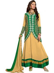 Shree Vardhman Chiku Faux Georgette Unstitched Salwar Suit Dress Material (alvra02)