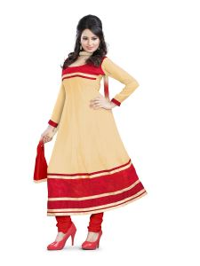 Shree Vardhman Georgette Chiku Unstitched Anarkali Salwar Suit Dress Material Chy04