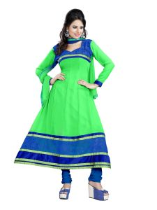 Shree Vardhman Georgette Green Unstitched Anarkali Salwar Suit Dress Material Chy08