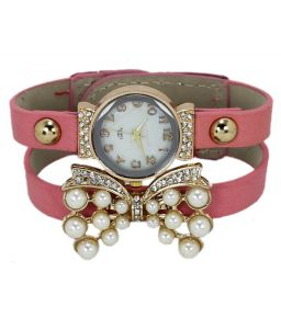 Fap Analog Butterfly Design Baby Pink Colour Womens Watch