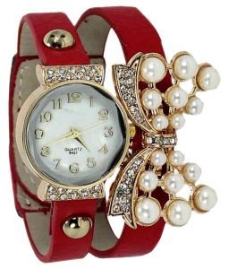 Watches - FAP Analog Butterfly design Red Colour Womens Ladies Girls Watch
