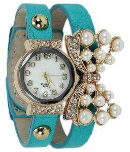 Women's Watches   Round Dial   Leather Belt   Analog - FAP Analog Butterfly design Sky Blue Colour Womens Ladies Girls Watch