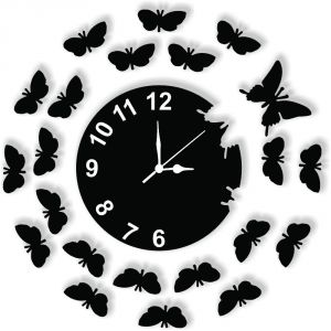 Clocks - Enamel Designer Black Wall Clock - CLOCK034