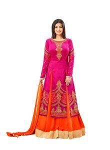 Style Amaze  Good Looking  Designer Pink & Orange Color Banglori Silk Suit (Code -2003-Orange)