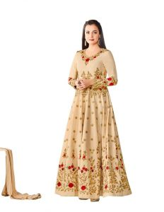 Style Amaze Charming Cream Color Heavy Embroidered Work Taffeta Suit (code -4446bk4002)