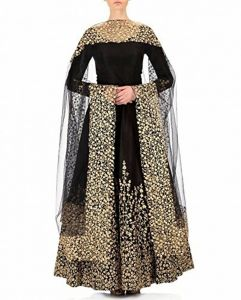 Anarkali Suits (Unstitched) - Style Amaze Presents Black Taffeta Embroidered Gown-Mayur-012