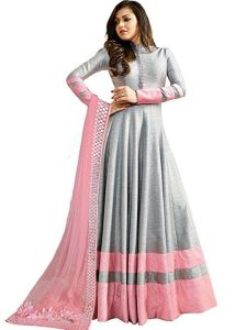 Style Amaze Marvelous Grey Color Heavy Georgette Anarkali Suit (code -ltn104-1402)