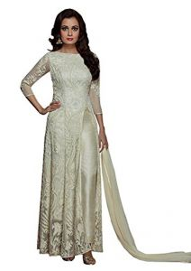 Style Amaze Indian Designer Georgette & Net Off-white Semi-sttiched Salwar Suit-sadiamirzavol5-5003