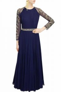 Western Dresses - Style Amaze Indian Designer Georgette Semi-Sttiched Long Gown(SASUNDAY-1009)