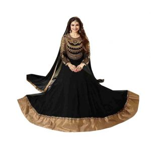 Style Amaze Embrodaried Work Georgette Black Color Anarkali Salwar Suit(sasunday-1176)