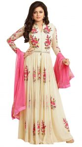 Anarkali Suits (Unstitched) - Style Amaze Georgette Cream Embroidered Anarkali Salwar Suit(SASUNDAY-1193)