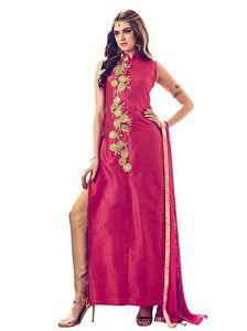Dress Materials (Singles) - Style Amaze Designer Pink & Beige Color Banglori Silk Embroidered Salwar suit-SASUNDAY-1281