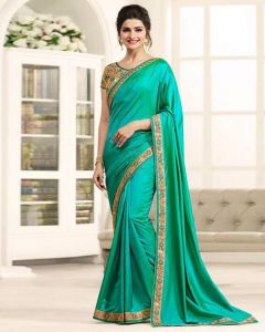 Style Amaze Ethnic Designer Georgette Light Green Embroidered Border Saree (code - Sasunday-1515)