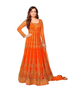 Style Amaze Orange Color Net Embroidered Anarkali Suit (code -sasunday-2093)
