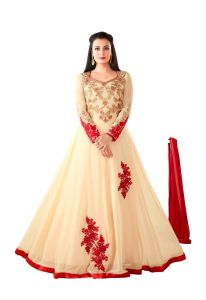 Style Amaze Beige Heavy Georgette Semi-stitched Anarkali Suit (code -sasunday-2104)