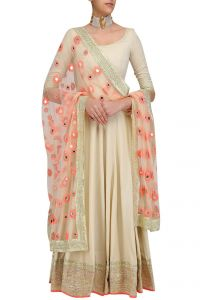 Anarkali Suits (Stitched) - Style Amaze Beige Georgette Semi Stitched Salwar Suit-(Code-SASUNDAY-3001)