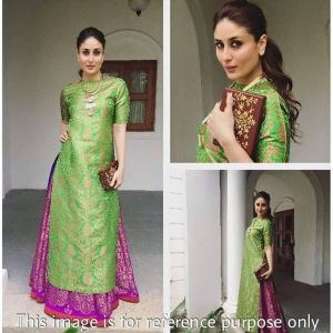 Women's Clothing - Style Amaze Presanted Green & Pink Indo - Western Semi - Sttiched Suit(SF222)
