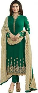 Style Amaze Graceful Dark Green Color Designer Georgette Straight Suit (code -vfjnt-5556)