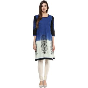 Prakhya Jaipur Printed Womens Long Straight Blue Cotton Kurti (code - Sw752blue)