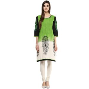 Prakhya Jaipur Printed Womens Long Straight Green Cotton Kurti (code - Sw752green)