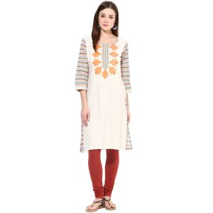 "Prakhya Embroidered Women""s Long Straight Cotton Kurta - (product Code - Sw802orange)"