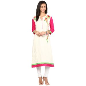 Prakhya Jaipur Embroidered Womens Long Straight Rayon Kurti (code - Sw837white)
