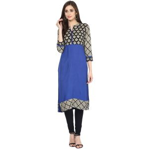 Prakhya Jaipur Printed Womens Long Straight Blue Cotton Kurti (code - Sw866blue)