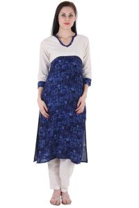 "Prakhya Printed Women""s Long Straight Rayon Kurta - (product Code - Sw887blue)"