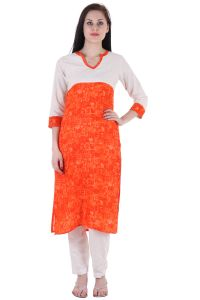 "Prakhya Printed Women""s Long Straight Rayon Kurta - (product Code - Sw887orange)"