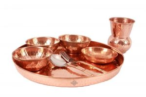 Indian Ayurveda Handmade Pure Copper Traditional Kitchen Dinner Set Of 8