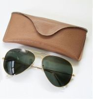 Aviator Sunglass Golden Frame Green Lens With Trendy Carry Case