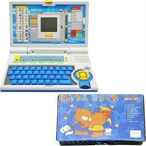 Educational Combo - 42 PCs Coloring Set With Learning Laptop - Kids-childrens